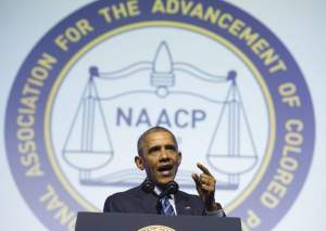 US President Barack Obama speaks during the NAACP's 106th National Convention in Philadelphia, Pennsylvania, July 14, 2015. AFP PHOTO / SAUL LOEBSAUL LOEB/AFP/Getty Images